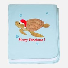 Personalized Christmas Sea Turtle baby blanket