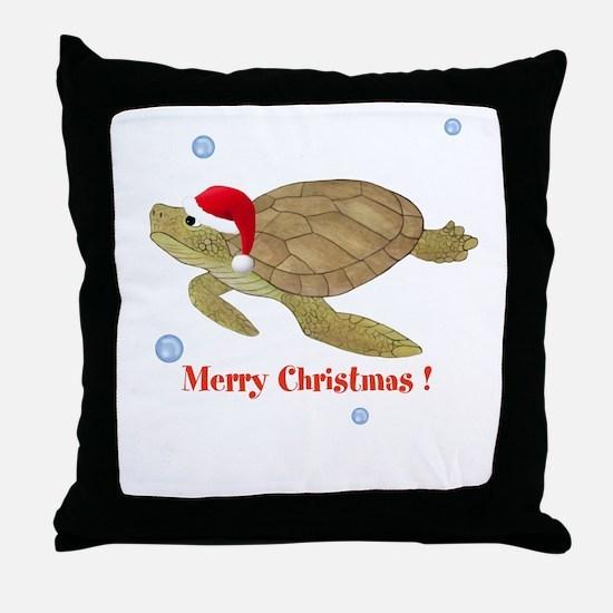 Personalized Christmas Sea Turtle Throw Pillow
