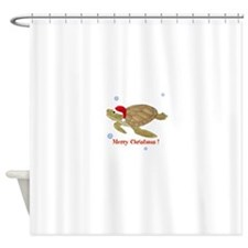 Personalized Christmas Sea Turtle Shower Curtain