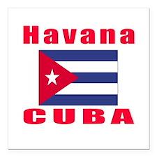 "Havana Cuba Designs Square Car Magnet 3"" x 3"""