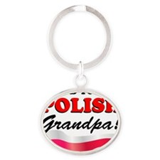 Proud Polish Grandpa Oval Keychain