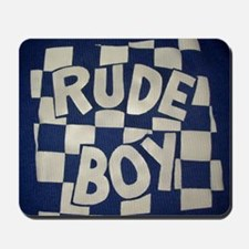 Rude Boy OiSKINBLU white on blue logo Mousepad