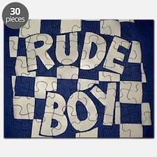 Rude Boy OiSKINBLU white on blue logo Puzzle