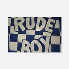 Rude Boy OiSKINBLU white on blue  Rectangle Magnet