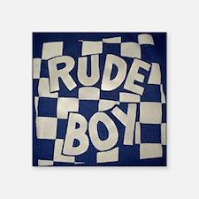 "Rude Boy OiSKINBLU white on Square Sticker 3"" x 3"""