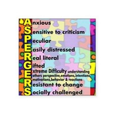"aspergers traits 3 copy Square Sticker 3"" x 3"""