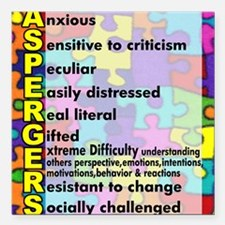 "aspergers traits 3 copy Square Car Magnet 3"" x 3"""