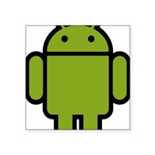 "Android-Stroked-Black-New Square Sticker 3"" x 3"""