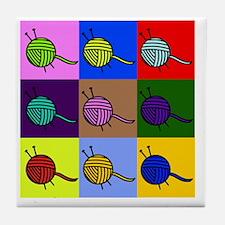 balls of colourful yarn Tile Coaster