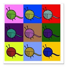 "balls of colourful yarn Square Car Magnet 3"" x 3"""