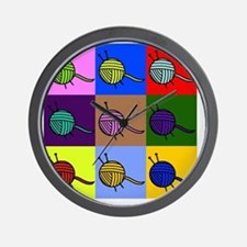 balls of colourful yarn Wall Clock