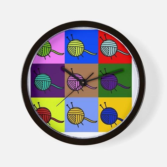 balls of colourful yarn Wall Clock