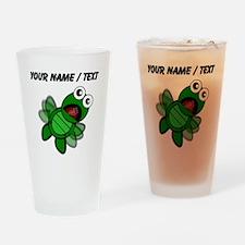 Custom Cartoon Turtle Falling Drinking Glass