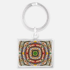 abstract stained glass 1b Landscape Keychain
