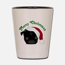 Black Pug in Santa Hat Shot Glass