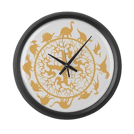 dino circle4 Large Wall Clock