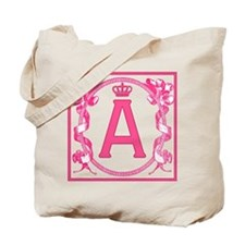 Letter A Pink Ribbon Scrolls Monogram Tote Bag