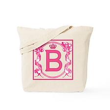 Letter B Pink Scrolling Ribbons Monogram Tote Bag