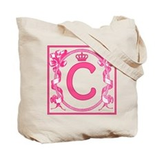Initial C Fuchsia Ribbons Monogram Tote Bag