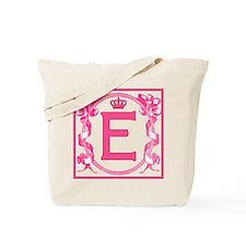 Letter E Fuchsia Scrolls Monogram Tote Bag