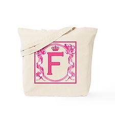Letter F Fuchsia Ribbons Monogram Tote Bag