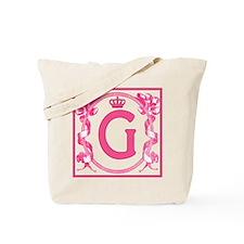 Letter G Fuchsia Ribbons Monogram Tote Bag