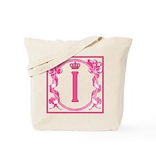 Letter I Fuchsia Ribbons Monogram Tote Bag