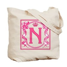 Letter N Fuchsia Ribbons Monogram Tote Bag