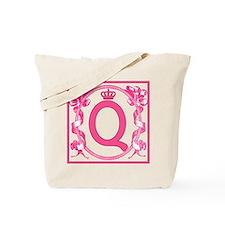Initial Q Fuchsia Ribbons Monogram Tote Bag