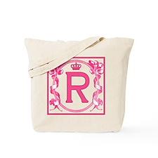 Initial R Fuchsia Ribbons Monogram Tote Bag