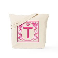 Initial T Fuchsia Ribbons Monogram Tote Bag