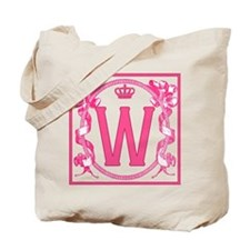 Initial W Fuchsia Ribbons Monogram Tote Bag