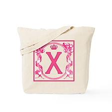 Initial X Fuchsia Ribbons Monogram Tote Bag