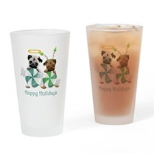Peppermint Candy Pugs Drinking Glass