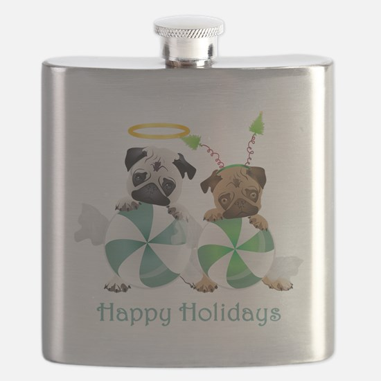 Peppermint Candy Pugs Flask
