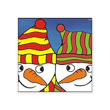 """snowmen 2 - shirt pkt Square Sticker 3"""" x 3"""""""