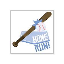 "Baseball Home Run Square Sticker 3"" x 3"""