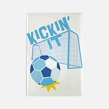 Soccer Kicking It Rectangle Magnet