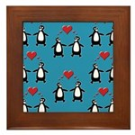 Penguins In Love Framed Tile