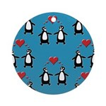 Penguins In Love Ornament (Round)