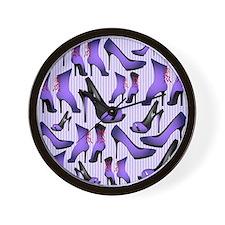 Purple High Heels Wall Clock