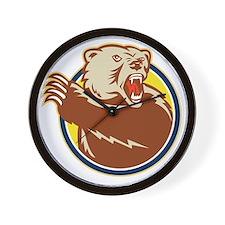 Grizzly Bear Swiping Paw Retro Wall Clock