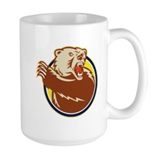 Grizzly Bear Swiping Paw Retro Mugs