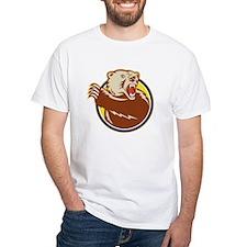 Grizzly Bear Swiping Paw Retro T-Shirt