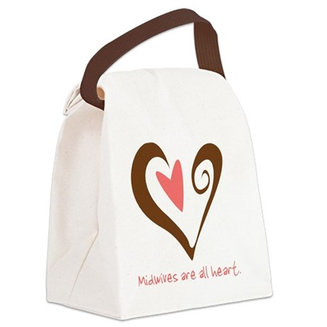 2-MidwivesHeartBrown Canvas Lunch Bag