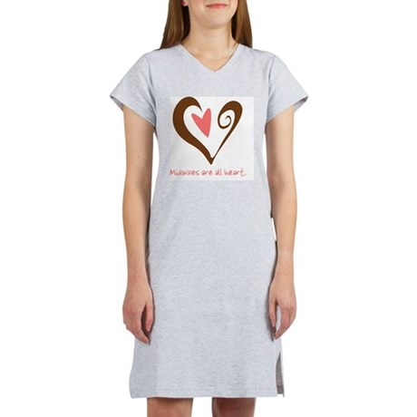 2-MidwivesHeartBrown Women's Nightshirt