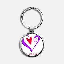 MidwivesHeartPurple Round Keychain