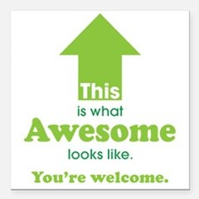 "Awesome_lime Square Car Magnet 3"" x 3"""