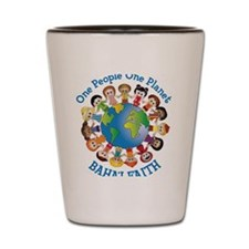 One people planet blue no lines Shot Glass
