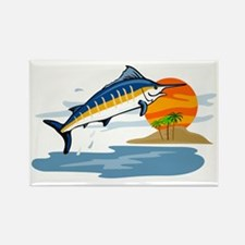 blue marlin jumping Rectangle Magnet